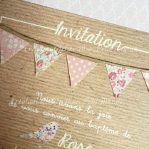 invitation bapteme pois Liberty rose